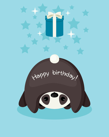 Birthday card. Upside down panda wishing a happy birthday. Gift box with bow. Vector cartoon illustration. Illustration