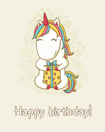 """Verjaardagskaart. Gelukkig eenhoorn met een geschenkdoos. Tekst """"Happy birthday"""". Vectorillustraion."""