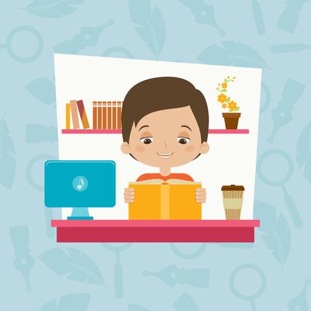 estudiando: Estudiante que lee un libro. Niño estudiando. ilustración de dibujos animados de vectores