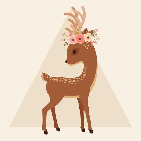 Elegant herten met bloemen krans op een hoofd. Vector cartoon illustratie.