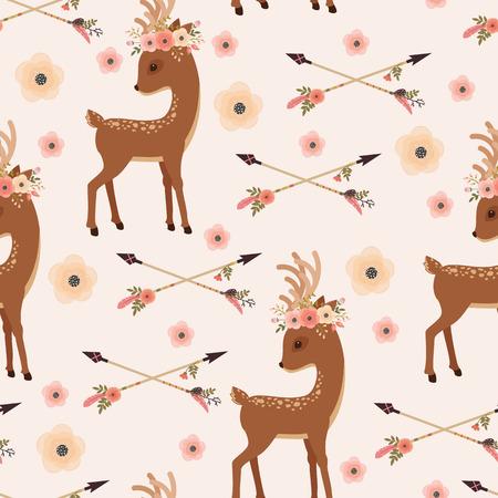 Elegante Reh mit Blumenkranz auf dem Kopf und gekreuzten Pfeilen. Vektor nahtlose Muster. Ethnische oder Native American Themen-Tapete Vektorgrafik