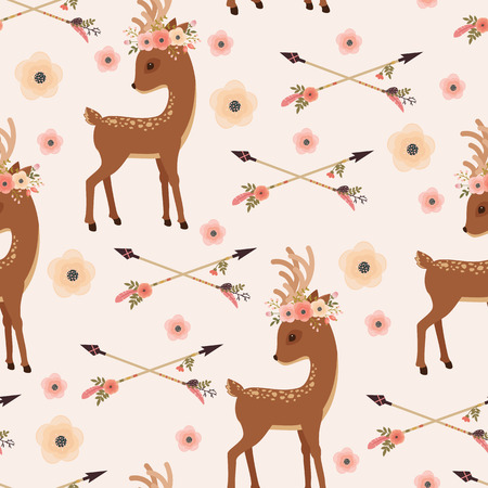 Elegant deer with floral wreath on a head and crossed arrows. Vector seamless pattern. Ethnic or Native American themed wallpaper Illustration