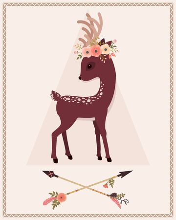 beautiful woodland: Elegant deer with floral wreath on a head and crossed arrows. Vector cartoon illustration. Illustration