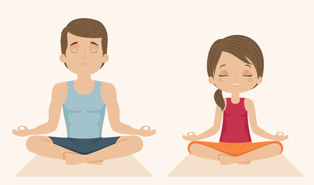 Family doing yoga. Man and woman sitting in a lotus position. Vector cartoon illustration