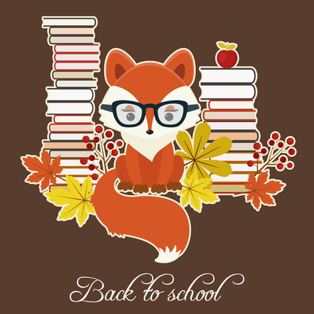Fox in glasses close to many books, autumn leaves and berries. Vector back to school illustration.