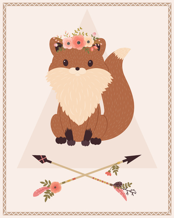forest animals: Tribal fox with floral wreath on a head and crossed arrows. Vector cartoon illustration.