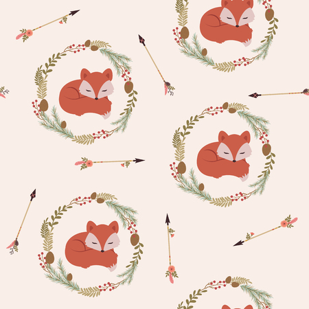 christmas cute: Sleeping fox in a wreath with arrows. Vector seamless pattern. Tribal, ethnic or Native American themed wallpaper Illustration