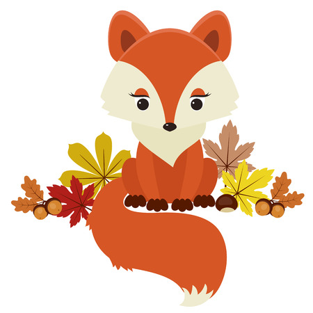 Fox next to autumnfall leaves, acorns and chestnuts. Vector illustration.