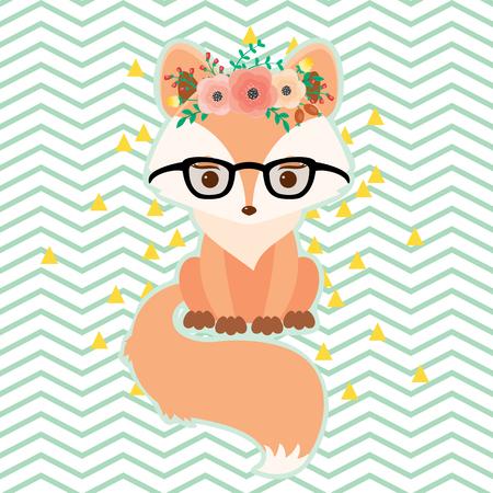 フローラル リースでメガネを狐します。ベクトルの図。