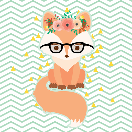 Fox in glasses in floral wreath. Vector illustration.