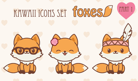 woodland: foxes icons set. Vector illustration of cute animals. Part 1 Illustration