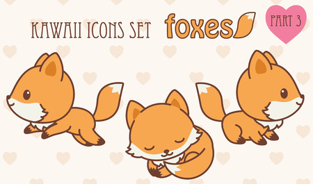 jungle jumping: foxes icons set. Vector illustration of cute animals. Part 3