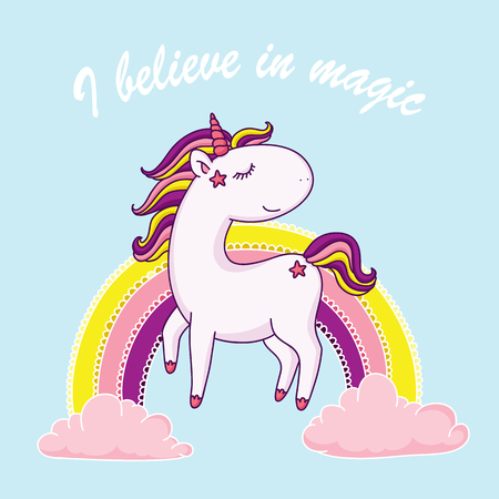 I believe in magic. Happy unicorn in front of rainbow. Vector illustration. Ilustrace