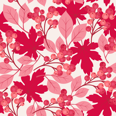 fruit stem: Autumnfall maple leaves and berries seamless pattern