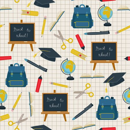 assortment: Back to school vector seamless pattern. Assortment of school supplies on checkered background.