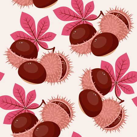 Autumn/fall leaves and chestnuts seamless pattern Ilustração