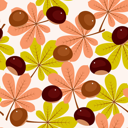 Autumnfall leaves and chestnuts seamless pattern