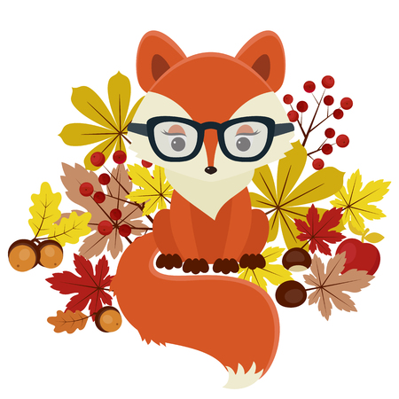 woodland: Fox surrounded by fall leaves, chestnuts, acorns and berries. Isolated over white. Beautiful autumnfall vector illustration.