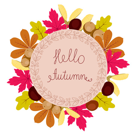 Autumn floral frame with leaves, chestnuts, acorns and text hello autumn. Elegant and beautiful background you can use for invitations, scrapbooking, greeting cards and more. Illustration