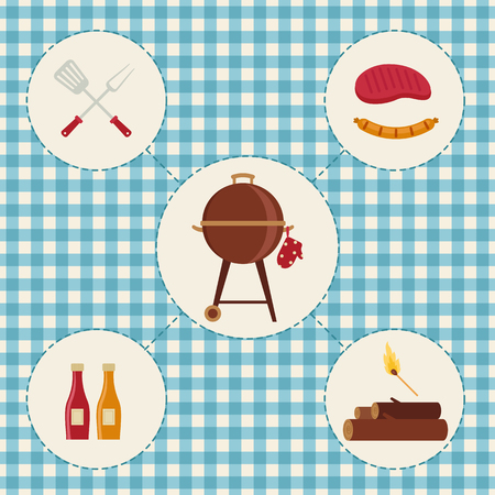 Set of barbecue icons. Vector illustration.