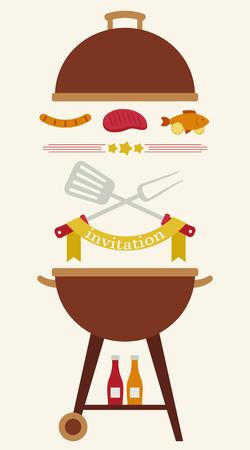 illustration invitation: Barbecue party invitation. Flyercardinvitation template. Vector illustration. Vertical Illustration