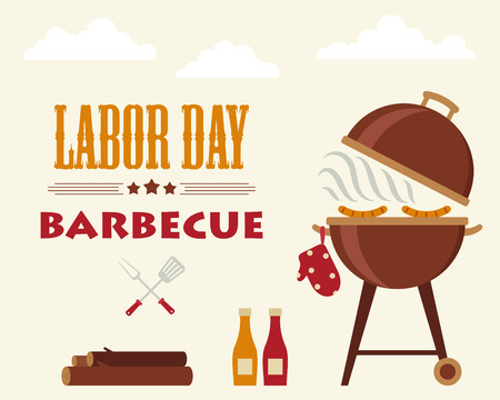 Labor Day barbecue. Flyer/card/invitation template. Vector illustration. Horizontal