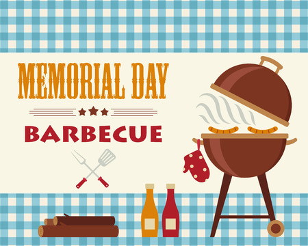 Memorial Day barbecue. Flyercardinvitation template. Vector illustration. Horizontal Ilustração
