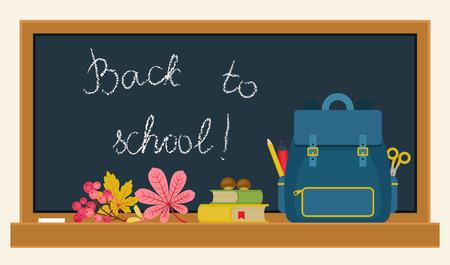 Back to school vector illustration. School supplies and autumn/fall plants on blackboard background. Horizontal
