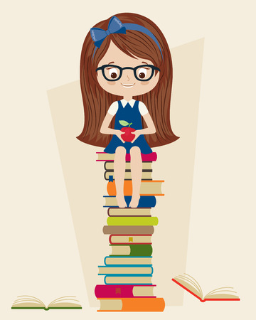 hairband: Little girl sitting on a pile of books. Girl holding an apple.  Vector cartoon illustration