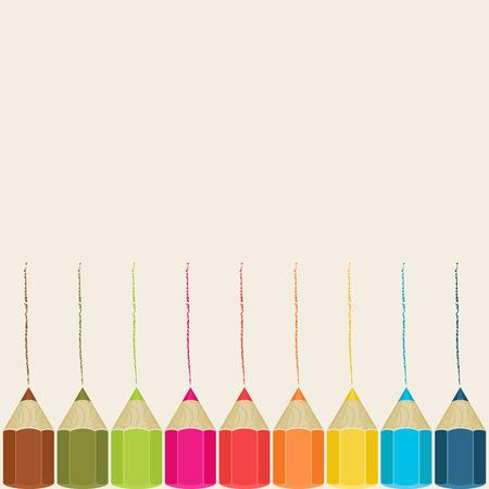 Vector achtergrond met kleurpotloden Vector Illustratie