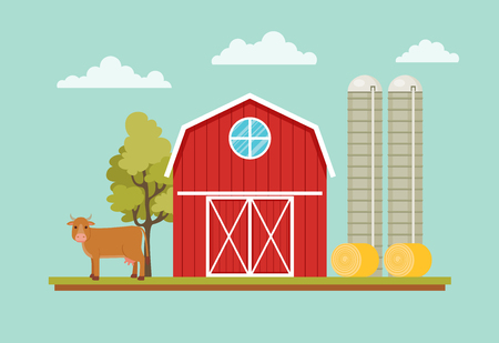 Rural landscape with barn house, cow, hay and farm towers