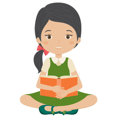 smart girl: Little girl reading a book. Girl holding a book. Isolated over white. Vector cartoon illustration.