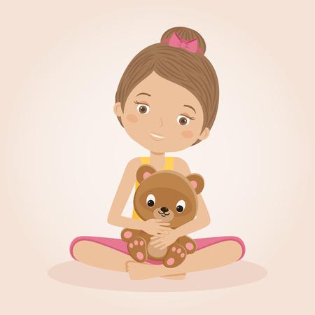 little child: Little girl holding her teddy bear on light cream background. Child with a toy. Vector cartoon illustration Illustration