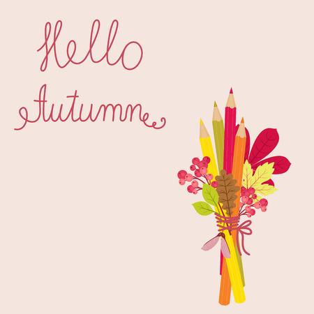 Hello autumn vector illustration. Crayons, autumnfall leaves and berries. Ilustração
