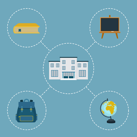 assortment: School vector icons. Assortment of school belonging objects and school building Illustration