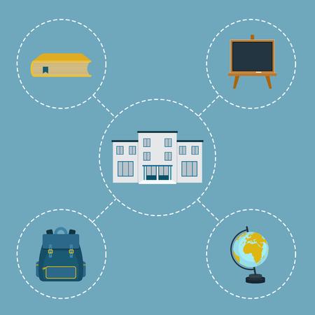 belonging: School vector icons. Assortment of school belonging objects and school building Illustration