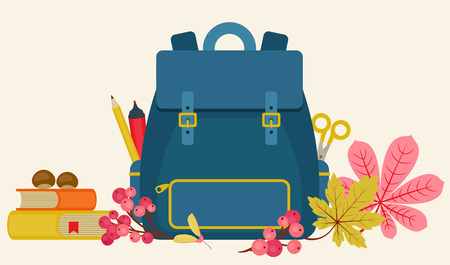 School supplies, backpack  and autumnfall plants on light cream background. Horizontal