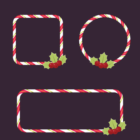 Candy cane empty frames with holly berries.