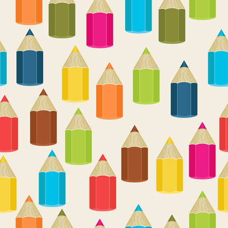 clipping mask: Seamless pattern colored pencils. Vector illustration with clipping mask