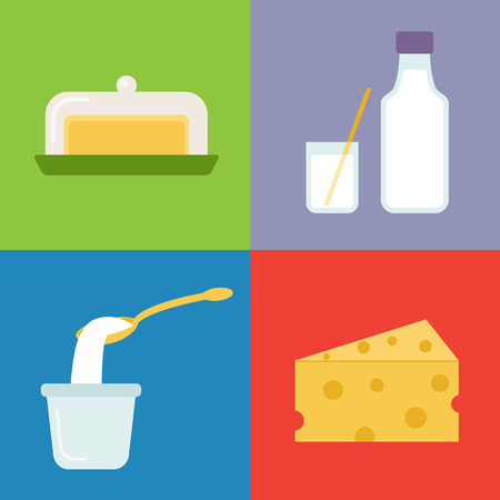 Set of dairy products. Vector icons.