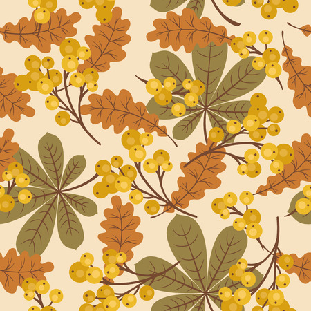 Autumnfall leaves and berries seamless pattern