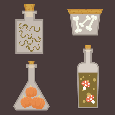 poisoned: Set of bottles with poison ingredients. Halloween themed. Flat cartoon style. Illustration