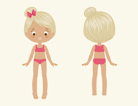 hair part: Girls body vector illustration. Front and back.