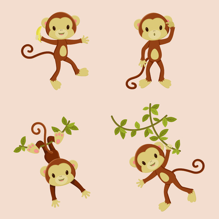 playful: Playful monkeys. Four isolated icons. Vector illustration