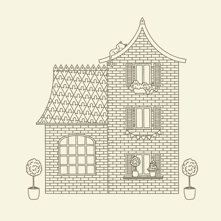 Hand drawn outline house. Stock vector line art illustration. Children or adult coloring page