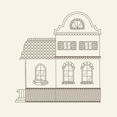 Hand drawn outline house. Stock vector line art illustration. Childrens and adult coloring page