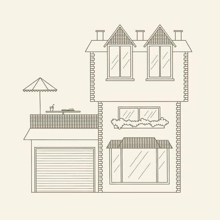手描き下ろしアウトラインの家。株式ベクトル ライン アート イラスト。子供と大人のぬりえ