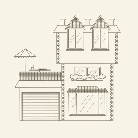 Hand drawn outline house. Stock vector line art illustration. Children's and adult coloring page