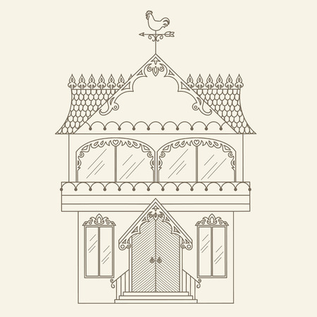 weathervane: Hand drawn outline house. Vector line art illustration. Childrens and adult coloring page