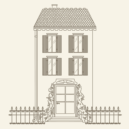 Hand drawn outline house. Vector line art illustration. Childrens and adult coloring page